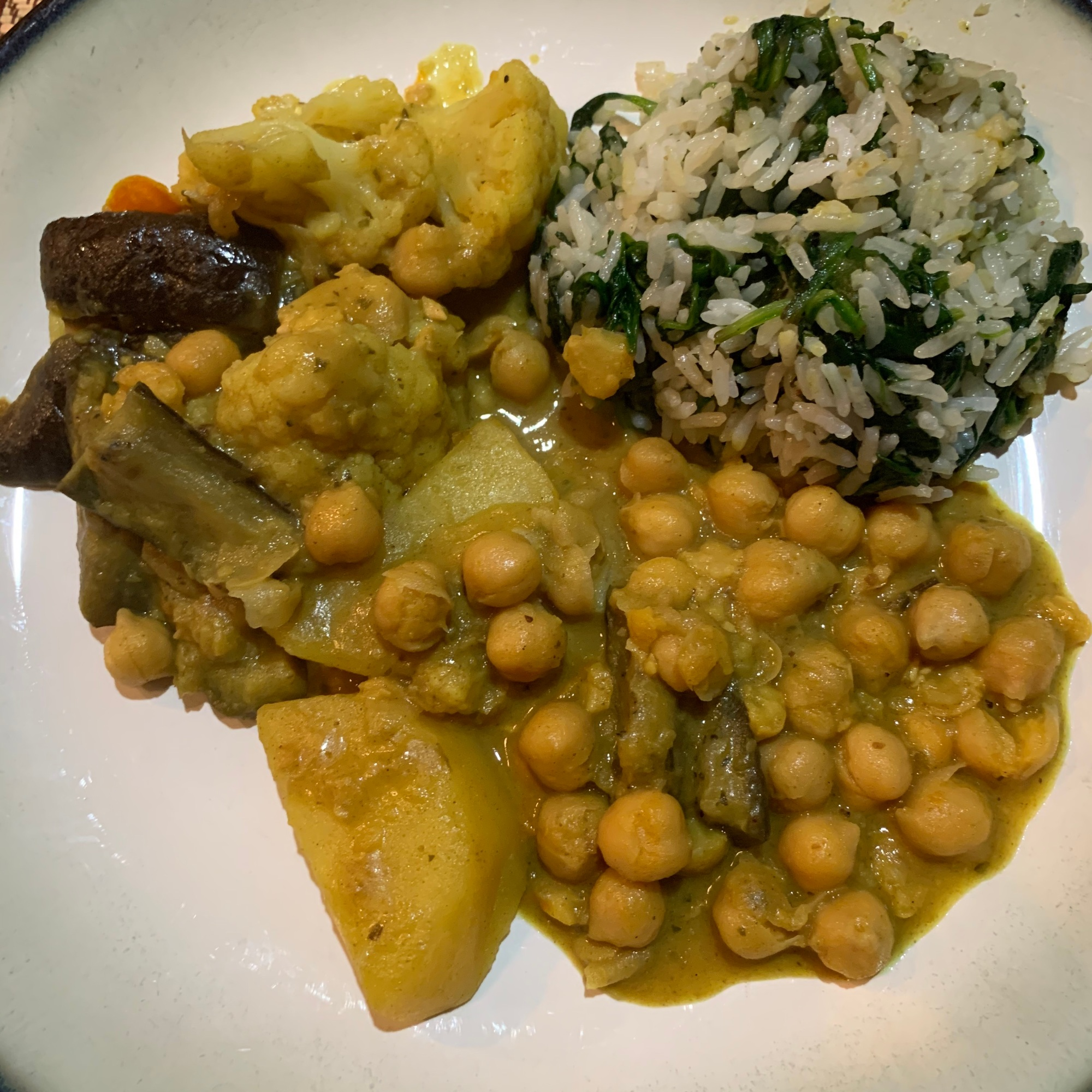 Vegetable Curry with Spinach Jasmine Rice