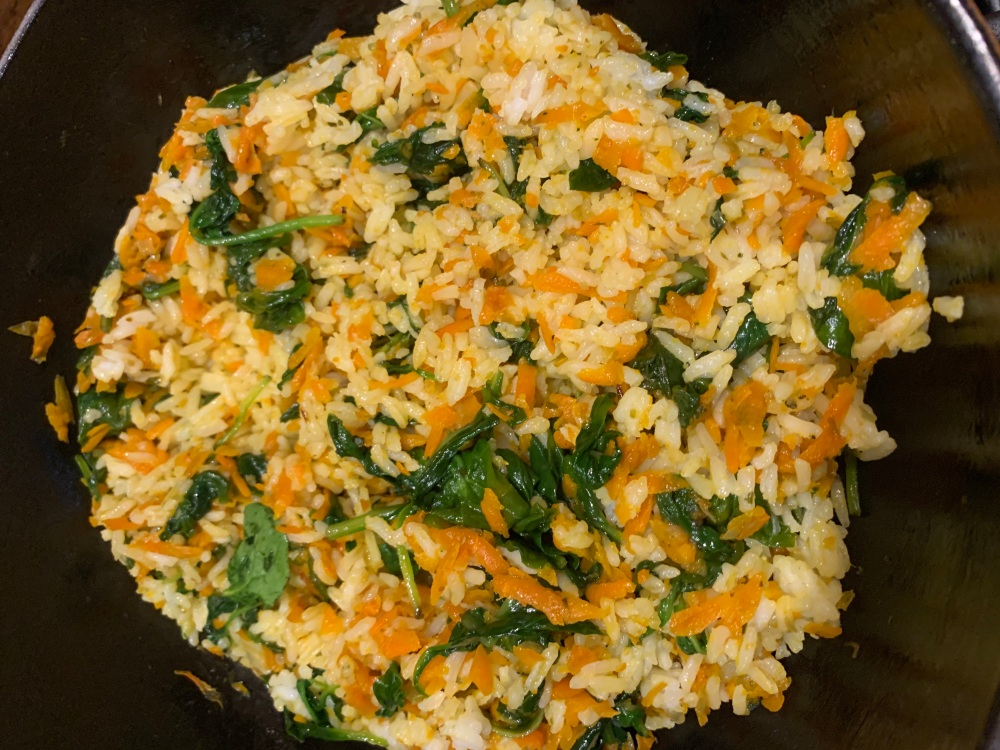 Jasmine Rice with baby Spinach and Shredded Carrots