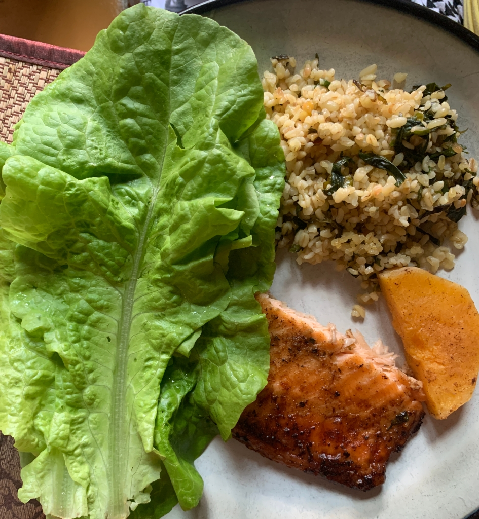 Homegrown Lettuce and Jasmine Rice with Baby Spinach Served with Salmon and Butternut Squash