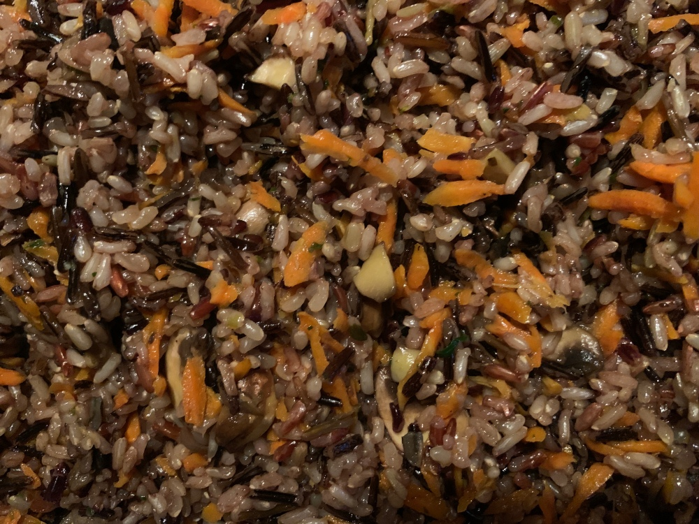 Wild Rice with Shredded Carrots and Cremini Mushrooms