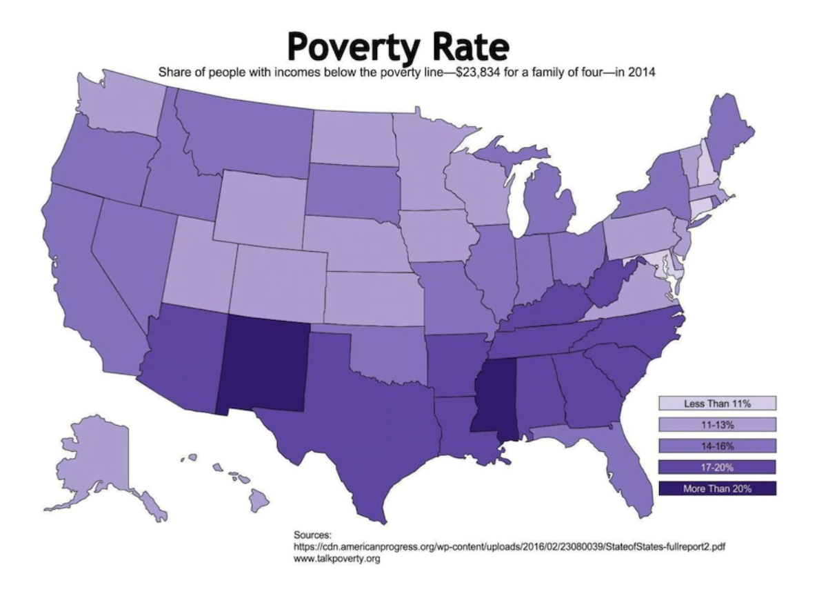 A map of poverty in the USA