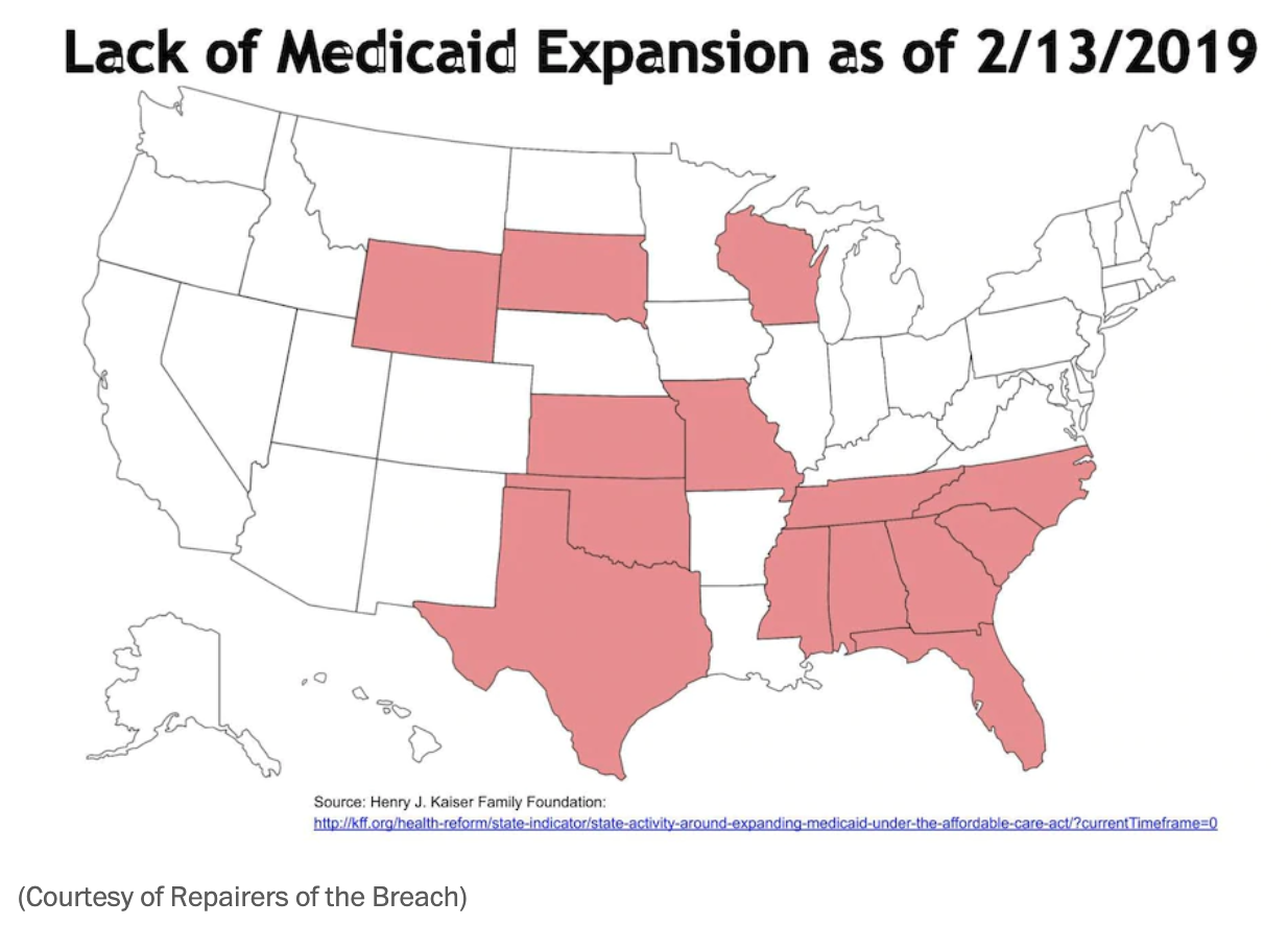 shows overlap with a map of the states that have not expanded Medicaid ...