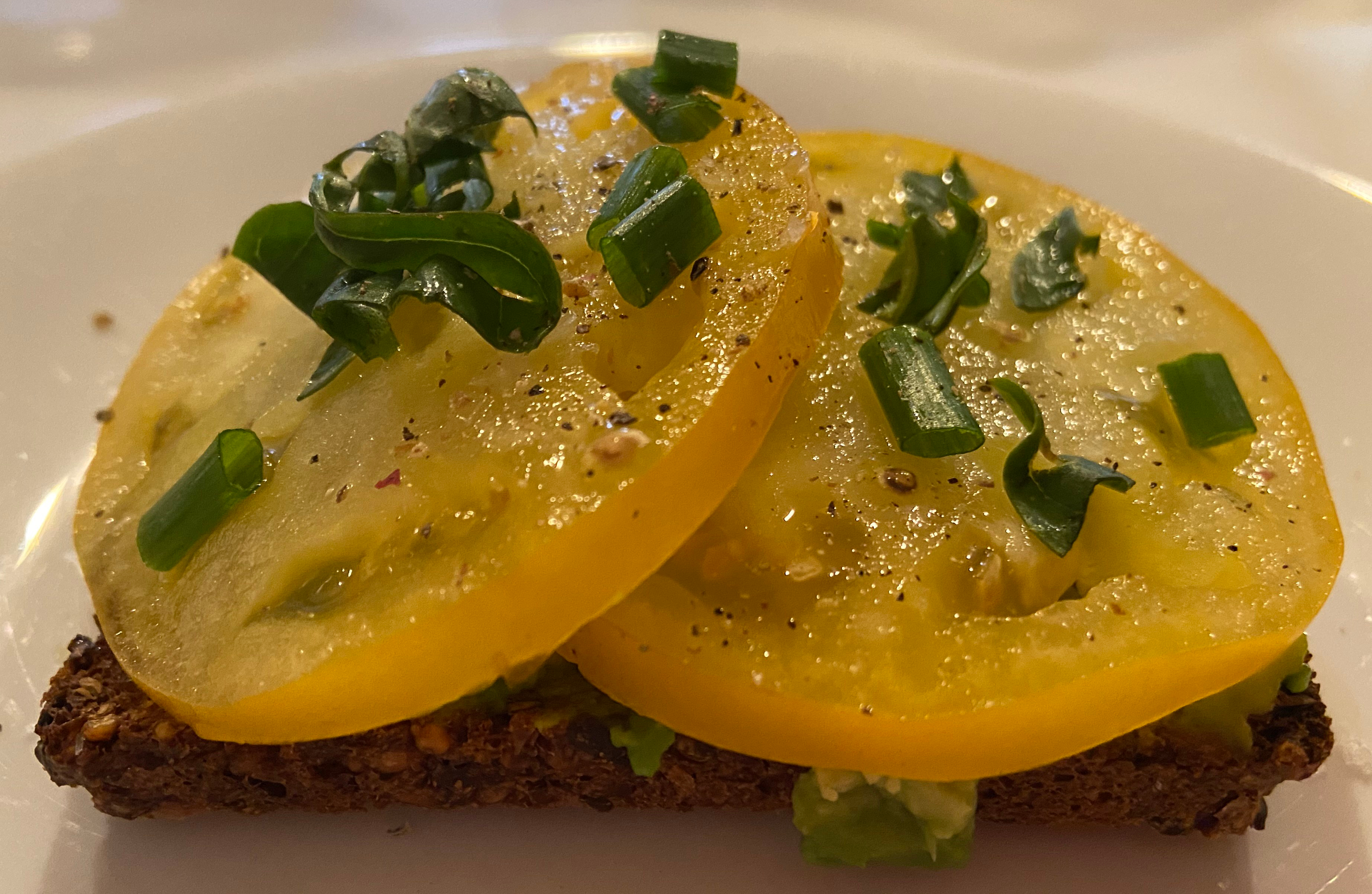 Toasted rye with smashed avocado topped with Shindy tomatoes (2)