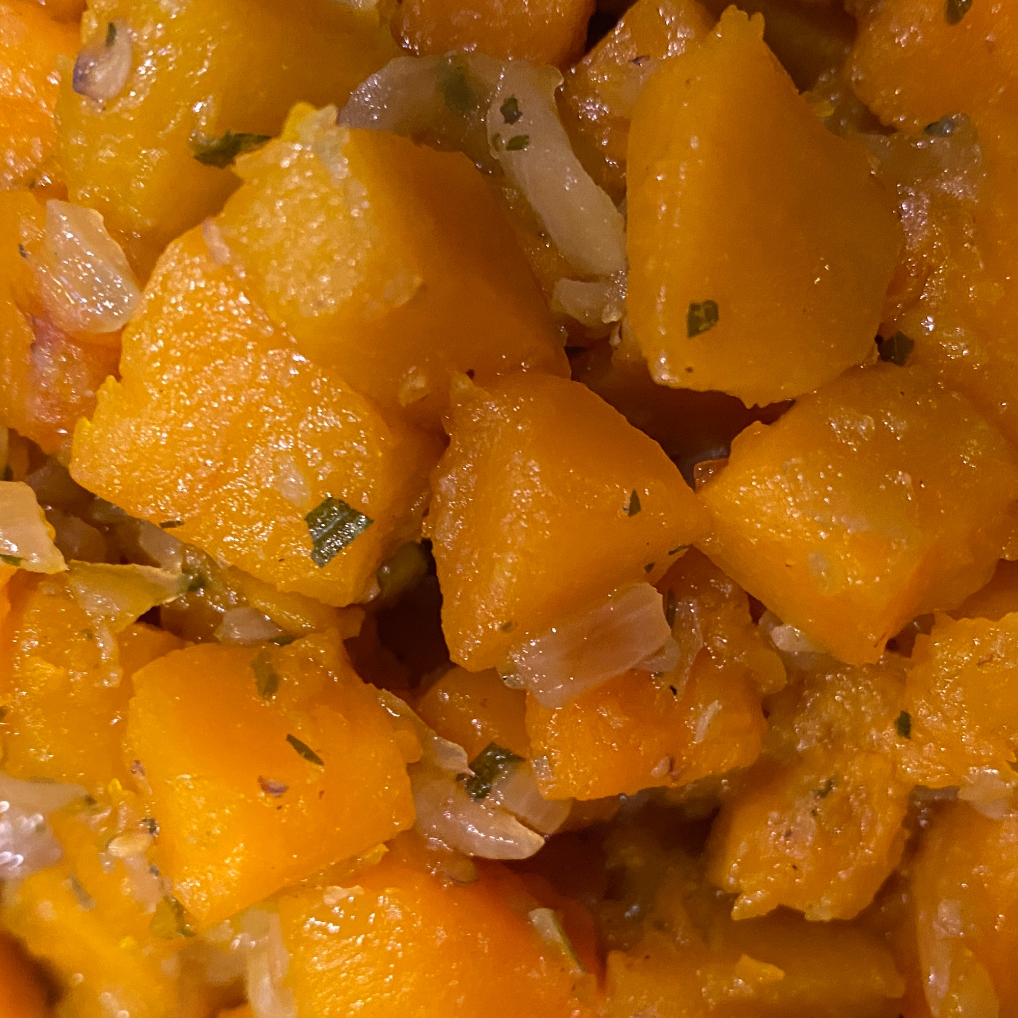 Close Up: Pumpkin cooked in onion and herb blend