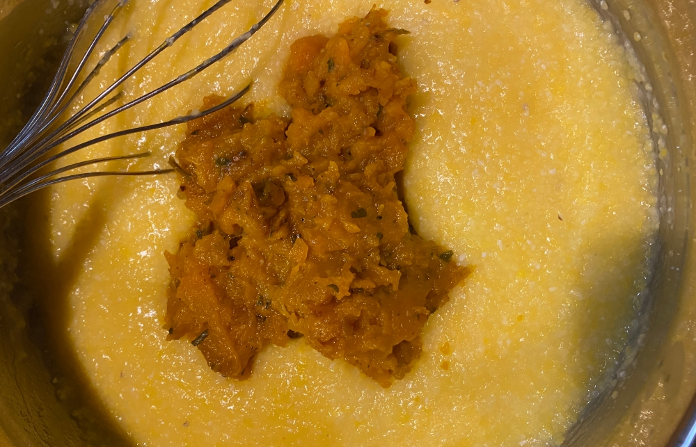 Pumpkin Added to Grits. Whisk