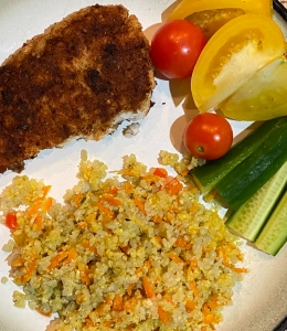 Fried Flounder with Cauliflower Couscous and Jade Rice