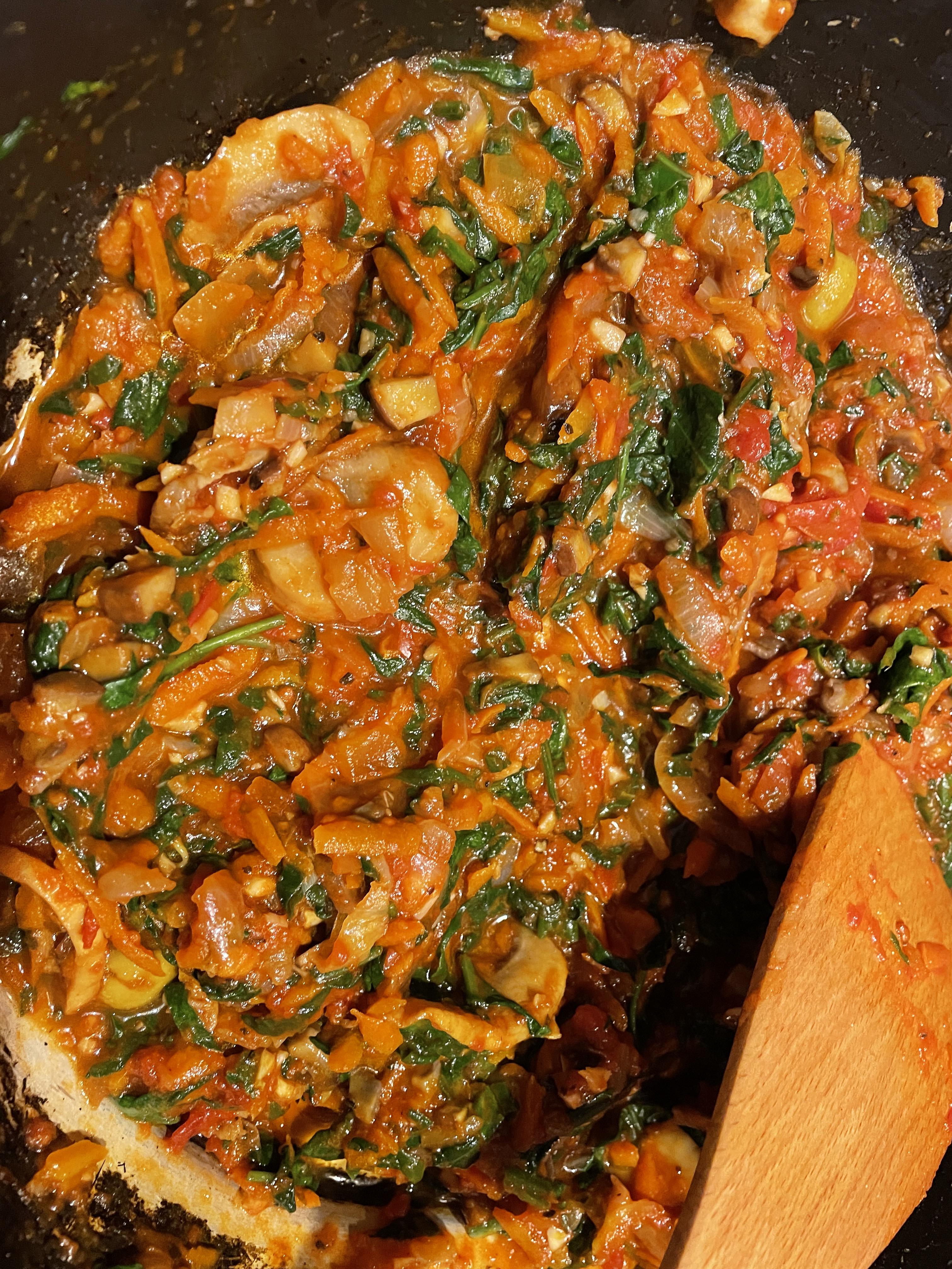 Veggies with italian mushroom sauce added